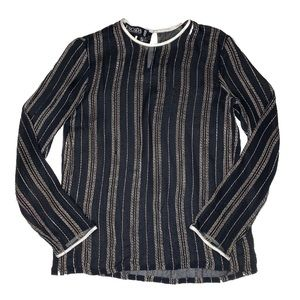 Escada Black Silk Blouse Gold Thread GUC Size 36